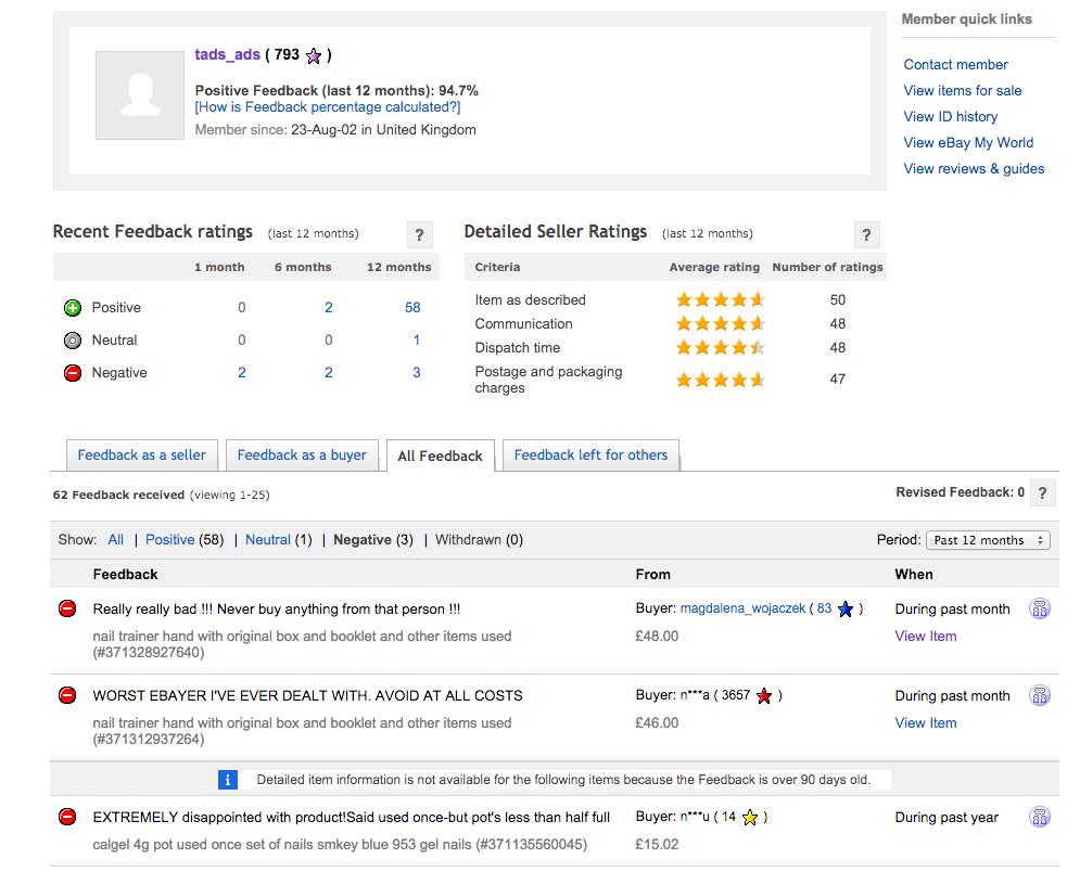 ebay negative feedback