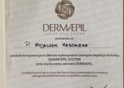 certyfikat-ukończenia-szkolenia-z-pasty-cukrowej-dermaepil-Dermaepil-sugar-epil-system-certificate